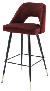 Casa Padrino Luxus Barstuhl Bordeauxrot / Schwarz 50 x 50 x H. 100 cm - Luxus Barhocker mit Rückenlehne