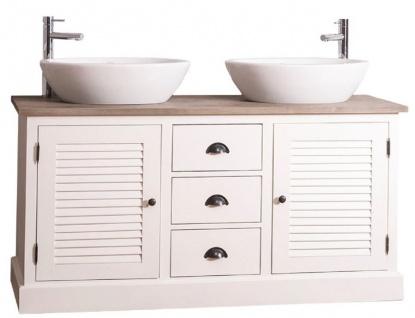 Casa Padrino Landhausstil Doppel-Waschtisch mit 2 Türen und 3 Schubladen Creme / Naturfarben 150 x 51 x H. 75 cm - Badezimmermöbel im Landhausstil - Vorschau 2