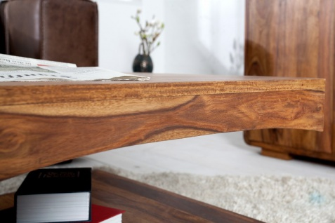 Casa Padrino Designer Massivholz Couchtisch Natur B120 x H40 x T70 cm - Salon Wohnzimmer Tisch - Vorschau 5