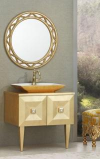 Casa Padrino Luxus Barock Badezimmer Set Gold - Waschtisch mit Waschbecken und Wandspiegel - Edel & Prunkvoll - Luxus Qualität