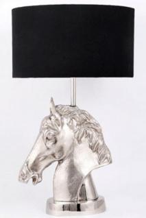 Casa Padrino Luxus Tischleuchte Pferdekopf Silber / Schwarz Ø 45 x H. 75 cm - Designer Lampe mit rundem Lampenschirm