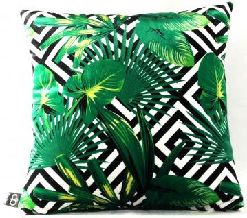 Casa Padrino Luxus Kissen Miami Palm Leaves Schwarz / Weiß / Grün 45 x 45 cm - Feinster Samtstoff - Deko Wohnzimmer Kissen