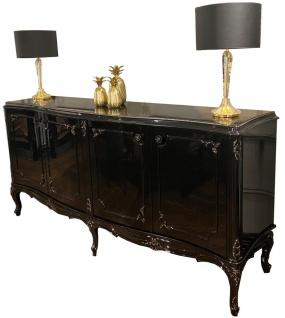Casa Padrino Luxus Barock Sideboard Schwarz / Antik Gold 226 x 57 x H. 103 cm - Edler Wohnzimmer Schrank mit 4 Türen und Glasplatte - Hochwertige Wohnzimmer Möbel im Barockstil