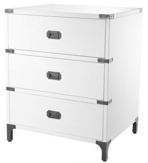 Casa Padrino Luxus Beistelltisch mit 3 Schubladen Weiß 71 x 40, 5 x H. 74 cm - Wohnzimmermöbel