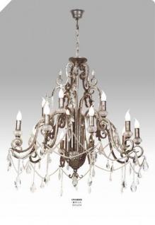 Casa Padrino Luxus Barock Kronleuchter mit echten Glaskristallen Silber Antik-Look, 10 Flammiger Lüster, Durchmesser 90 cm - feinste Qualität - Vorschau
