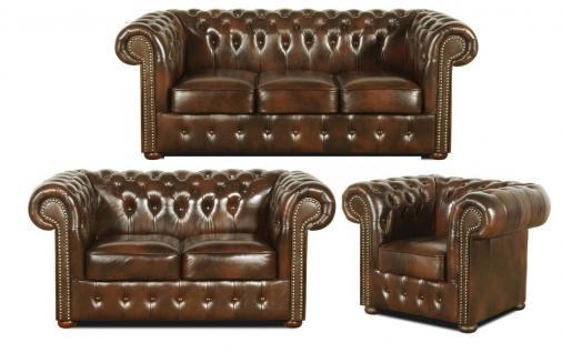 Casa Padrino Chesterfield Wohnzimmer 3er Set Dunkelbraun - Luxus Echtleder Möbel
