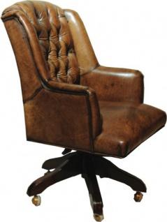 Casa Padrino Luxus Echtleder Chefsessel Büro Stuhl Braun Drehstuhl Schreibtisch Stuhl - Chefbüro - Vorschau 2