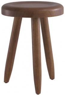 Casa Padrino Luxus Sitzhocker Braun Ø 31 x H. 45 cm - Massivholz Hocker - Runder Mindi Holz Sitzhocker - Luxus Möbel