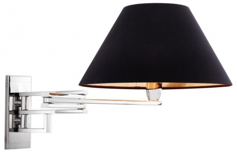 Casa Padrino Luxus Wandleuchte mit Schwenkarm in silber und schwarzem Lampenschirm - Wohnzimmer Wandlampe