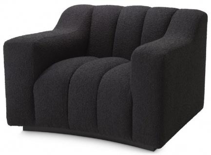 Casa Padrino Luxus Sessel Schwarz 107 x 96 x H. 78, 5 cm - Leicht gebogener Wohnzimmer Sessel - Hotel Sessel - Luxus Qualität
