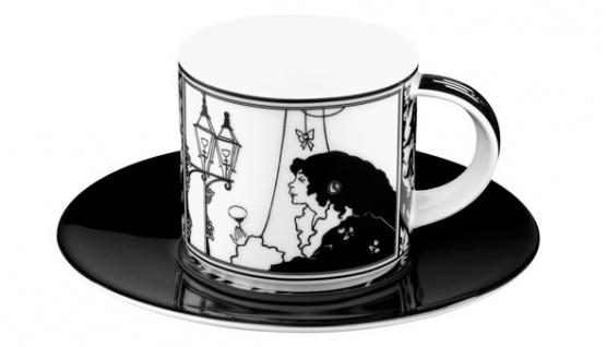 """Handgearbeitete Moccatasse aus Porzellan mit einem Motiv von Audrey Beardsley """" Dame vorm Spiegel"""" 0, 09 Ltr. - feinste Qualität aus der Tettau Porzellanfabrik - wunderschöne Espressotasse"""