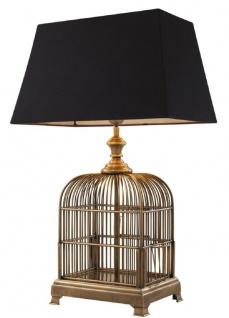 Casa Padrino Designer Vogelkäfig Tischleuchte Vintage Messingfarben / Schwarz 45 x 30 x H. 73 cm - Hotel & Restaurant Tischlampe