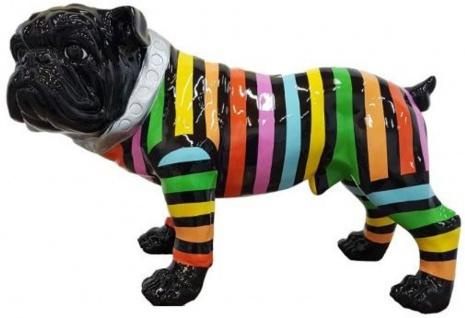 Casa Padrino Designer Dekofigur Hund Bulldogge Schwarz / Bunte Streifen 59 x H. 40 cm - Wetterbeständige Deko Skulptur - Wohnzimmer Deko - Garten Deko - Designer Deko Tierfigur