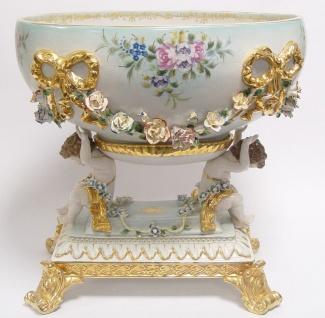 Casa Padrino Barock Schüssel Weiß / Gold H. 43 cm - Prunkvolle Porzellan Deko im Barockstil