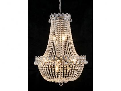 Barock Kronleuchter vernickelt mit Glaskristallen Länge 80 cm Durchmesser 60 cm Antik Stil - Möbel Lüster Leuchter Hängeleuchte Hängelampe