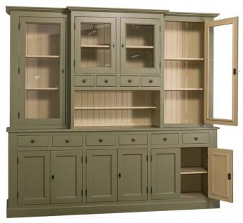 Casa Padrino Landhausstil Küchenschrank Grün / Beige 244 x 45 x H. 225 cm - 2 Teiliger Küchenschrank mit 10 Türen und 10 Schubladen - Vorschau 2
