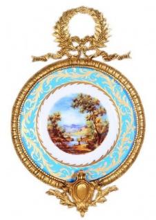 Casa Padrino Barock Keramik Wandbild mit verziertem Rahmen Mehrfarbig / Hellblau / Gold 28 cm - Barock Wanddeko