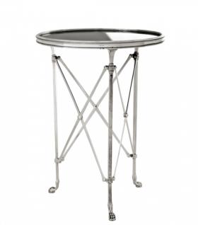 Casa Padrino Luxus Art Deco Designer Beistelltisch Antik Silber mit schwarzem Glas 52 x H. 70 cm - Luxus Hotel Tisch