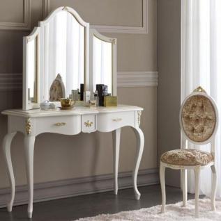 Casa Padrino Luxus Barock Spiegelkonsolen Set Braun / Weiß / Gold - Eleganter Konsolentisch mit Spiegel und Damenstuhl - Luxus Barock Schlafzimmer Möbel