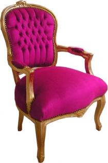 Casa Padrino Barock Salon Stuhl Rosa / Gold