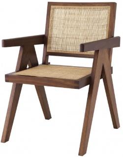 Casa Padrino Luxus Esszimmerstuhl Braun / Naturfarben 57 x 65, 5 x H. 90 cm - Massivholz Stuhl mit Armlehnen und handgewebtem Rattangeflecht - Luxus Esszimmer Möbel