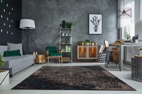 Casa Padrino Wohnzimmer Teppich Vintage Blau / Mehrfarbig 160 x 240 cm - Rechteckiger Baumwoll Teppich - Wohnzimmer Deko Accessoires - Vorschau 2