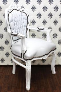 Barock Esszimmer Stuhl mit Armlehnen Weiß / Weiß