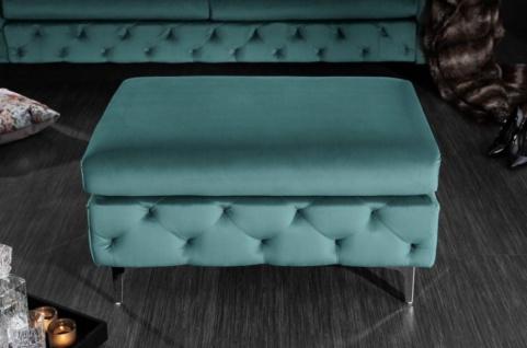 Casa Padrino Chesterfield Samt Hocker Türkis / Silber 90 x 63 x H. 47 cm - Moderner rechteckiger Sitzhocker - Wohnzimmermöbel - Vorschau 3