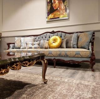 Casa Padrino Luxus Barock Sofa Silber / Beige / Dunkelbraun - Prunkvolles Wohnzimmer Sofa mit elegantem Muster - Barock Möbel - Vorschau 3