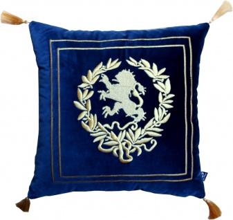 Casa Padrino Luxus Deko Kissen Wappen Dunkelblau / Gold mit goldenen Troddeln 45 x 45 cm - Feinster Samtstoff - Luxus Wohndeko