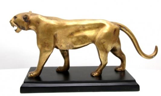 Luxus Bronze Panther Skulptur auf Sockel Gold Antik Stil / Schwarz von Casa Padrino - Figur Antik Stil