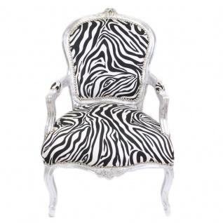 Casa Padrino Barock Salon Stuhl Zebra / Silber mit Armlehnen - Barockmöbel