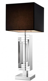 Casa Padrino Luxus Tischleuchte Nickel Durchmesser 19 x 35 x H 63 cm - Luxus Hotel Restaurant Leuchte