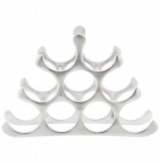Casa Padrino Designer Weinregal für 9 Flaschen aus poliertem Aluminium Höhe: 30 cm, Breite: 44 cm, Tiefe: 13 cm - Flaschenhalter, Flaschenablage