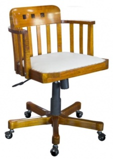 Casa Padrino Büro Drehstuhl mit Armlehnen Hellbraun / Weiß 62 x 53 x H. 86 cm - Luxus Bürostuhl