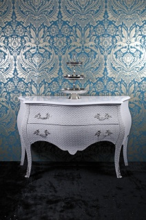 Casa Padrino Barock Kommode Weiß Glitzerlook 120cm - Limited Edition