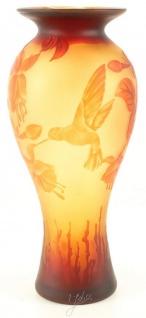 Casa Padrino Luxus Glas Deko Vase Kolibri Mehrfarbig Ø 19, 5 x H. 44, 7 cm - Cameoglas Baluster Blumenvase
