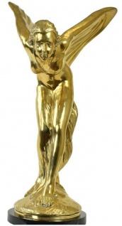 Casa Padrino Luxus Bronze Skulptur Spirit of Ecstasy Frau mit Flügeln Gold / Schwarz 53 x 71 x H. 114 cm - Edle Bronzefigur mit Marmorsockel - Luxus Deko Accessoires