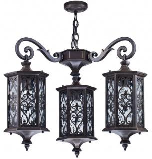 Casa Padrino Barock Außenhängeleuchte Bronze Ø 61, 7 x H. 83, 8 cm - Wetterfeste Garten Terrassen Balkon Lampe - Deko Accessoires im Barockstil