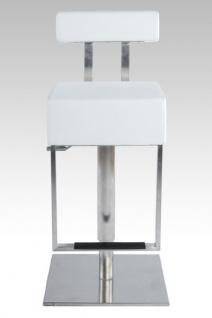 Casa Padrino Barstuhl Eckig Kunstleder Weiß mit Rückenlehne , Barhocker, gepolstert, drehbar, höhenverstellbar - Vorschau 1