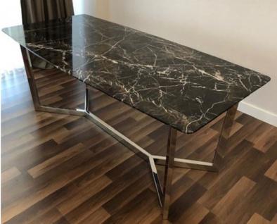 Casa Padrino Luxus Esstisch Schwarz / Silber 200 x 100 x H. 75 cm - Moderner Küchentisch mit Marmor Tischplatte und Edelstahl Gestell - Luxus Esszimmer Möbel - Vorschau