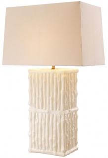 Casa Padrino Luxus Keramik Tischleuchte Weiß / Creme 44 x 27 x H. 71 cm - Hotel & Restaurant Tischlampe