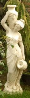 Casa Padrino Jugendstil Wasserspeier Skulptur Frau mit Krügen Sandfarben 34 x H. 139 cm - Barock & Jugendstil Gartendeko