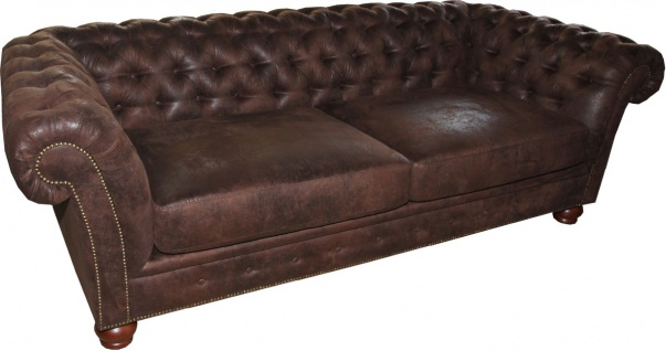 Casa Padrino Limited Edition Designer Chesterfield 3-er Sofa Braun B 226 cm - Club Möbel - Vorschau 2