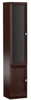Casa Padrino Luxus Wohnzimmerschrank mit 2 Türen Dunkelbraun / Silber 45, 4 x 44, 2 x H. 225, 6 cm - Wohnzimmermöbel