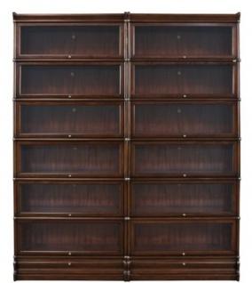 Casa Padrino Luxus Mahagoni Bücherschrank mit 12 Glastüren und 2 Schubladen Dunkelbraun 172 x 31 x H. 211 cm - Luxus Büromöbel