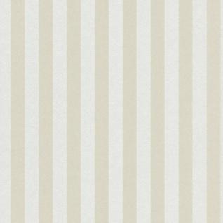 Casa Padrino Barock Textiltapete Beige / Creme 10, 05 x 0, 53 m - Barock Tapete mit Streifen