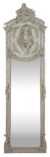 Casa Padrino Luxus Barock Wandspiegel Madonna Grau 55 x H. 175 cm - Massiv und Schwer - Antik Stil Spiegel