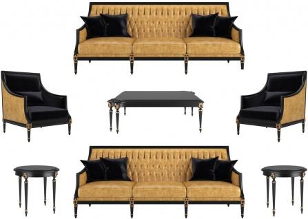 Casa Padrino Luxus Barock Wohnzimmer Set Gold / Schwarz / Antik Gold - 2 Sofas & 2 Sessel & 1 Couchtisch & 2 Beistelltische - Möbel im Barockstil - Edle Barock Wohnzimmer Möbel