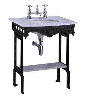 Casa Padrino Luxus Jugendstil Stand Waschtisch Weiß / Schwarz mit Marmorplatte und Ablage Barock Waschbecken Barockstil Antik Stil